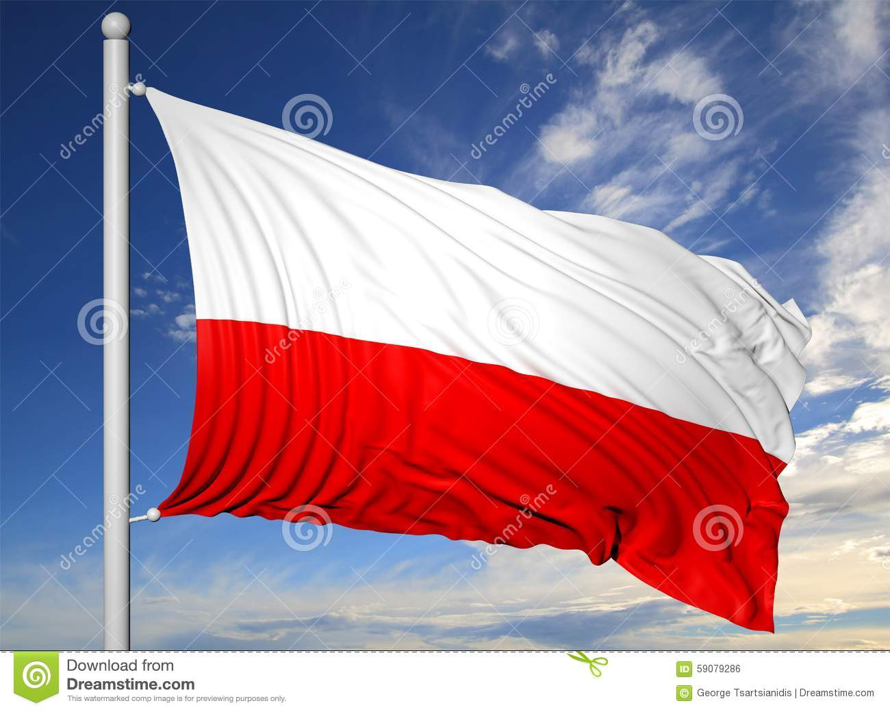 waving flag of poland on flagpole stock illustration image 59079286