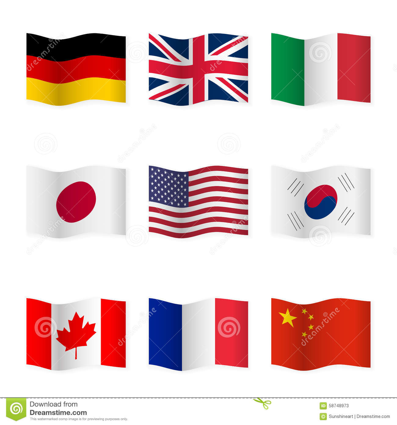 Waving flags of different countries. Flag icons on white background.