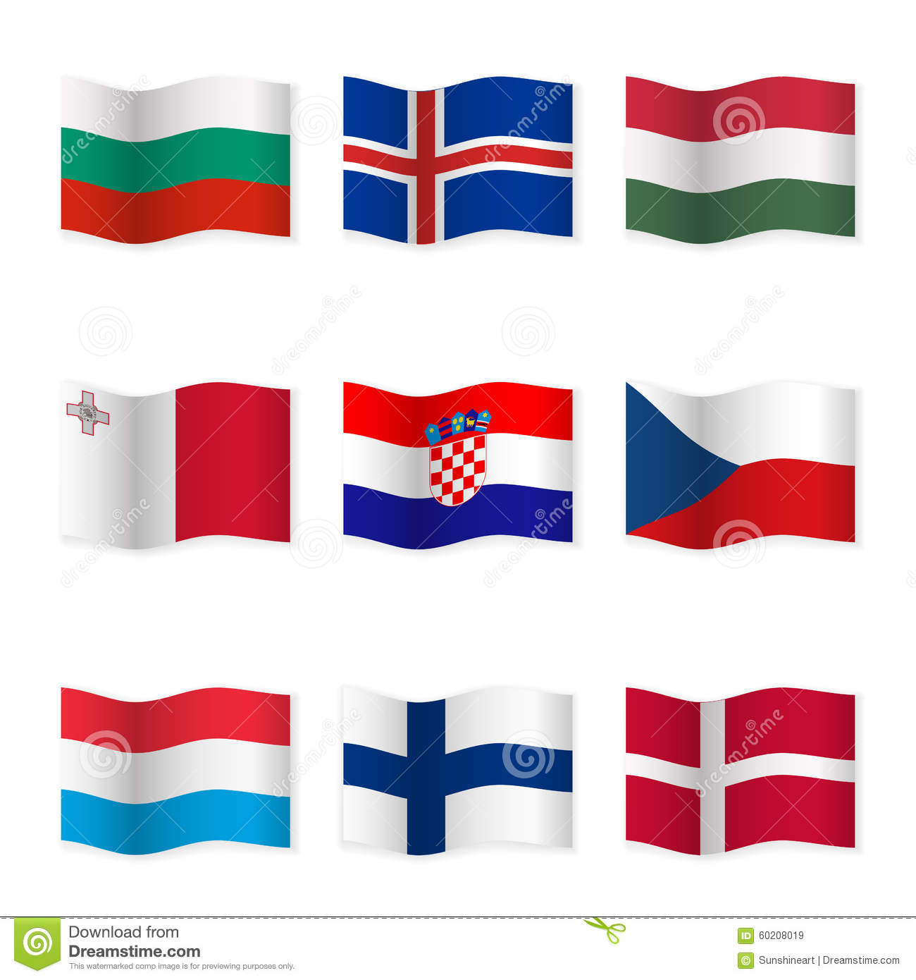 Waving Flags Of Different Countries 6 Stock Vector Image