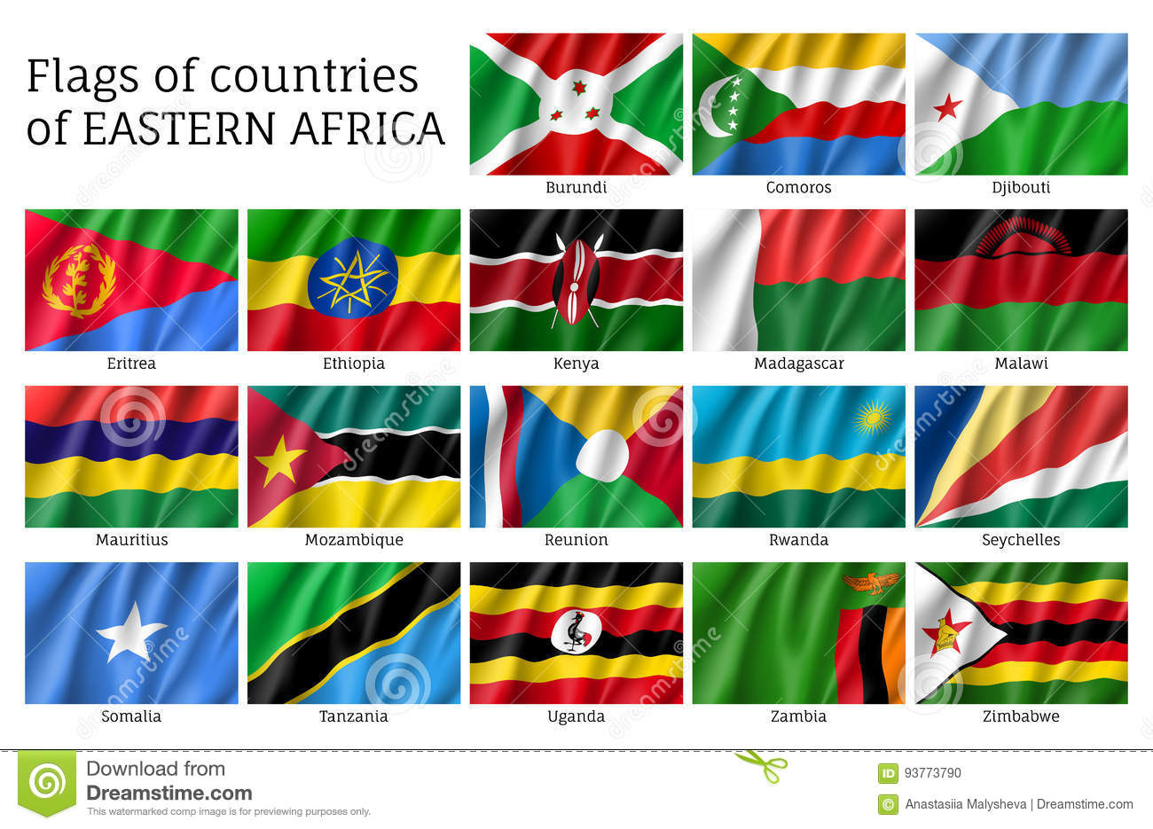 Waving flags of east africa stock vector illustration of waving flags of east africa biocorpaavc
