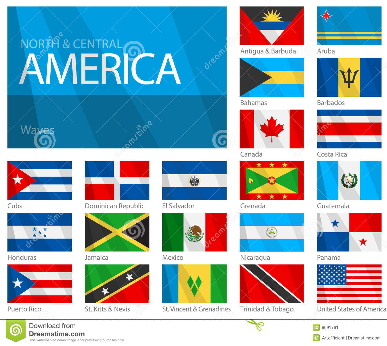 Waving Flags Of North & Central American Countries Stock
