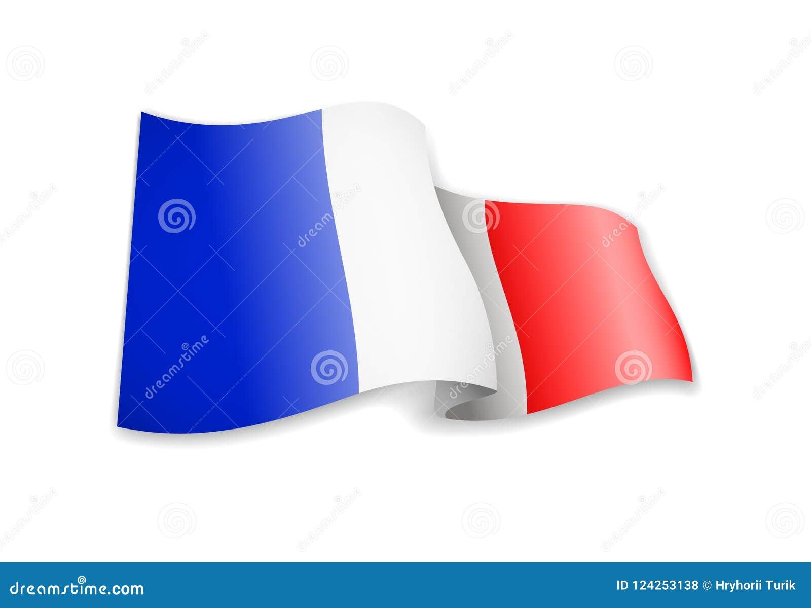 Waving France flag on white background.