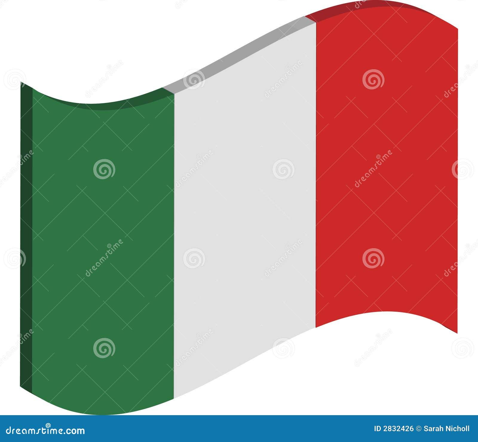 Italian Restaurant Logo With Flag: Waving Italy Flag Stock Illustration. Illustration Of