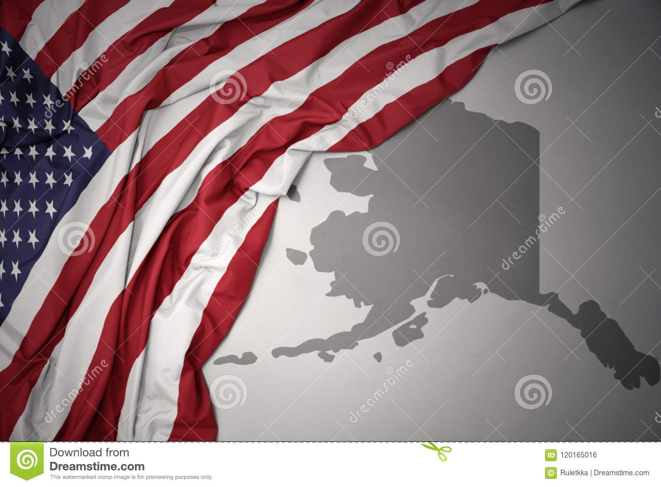 Waving National Flag Of United States Of America On A Gray Alaska ...