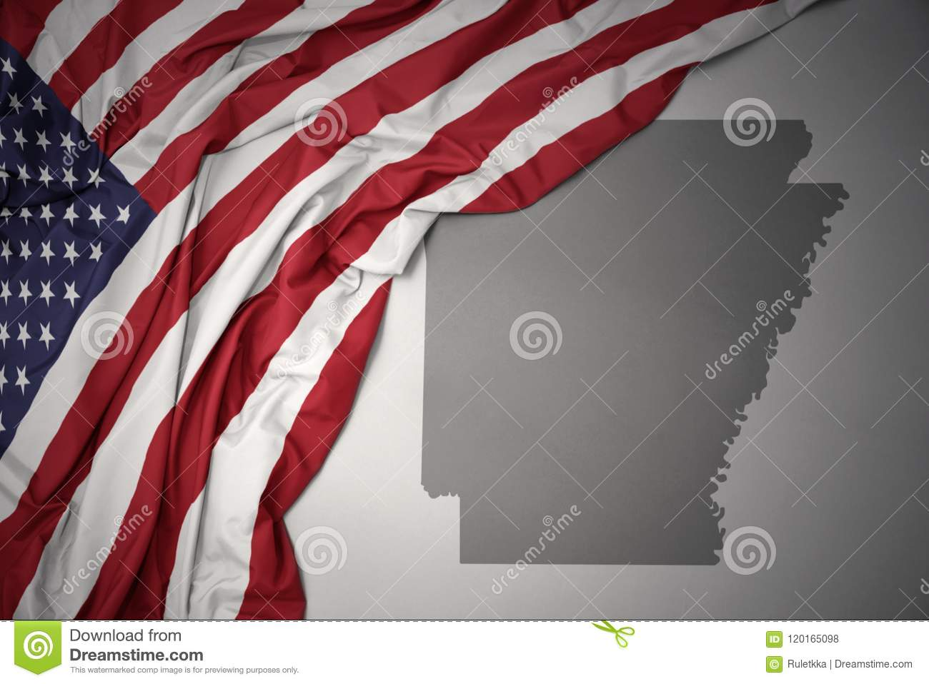 Waving National Flag Of United States Of America On A Gray ...