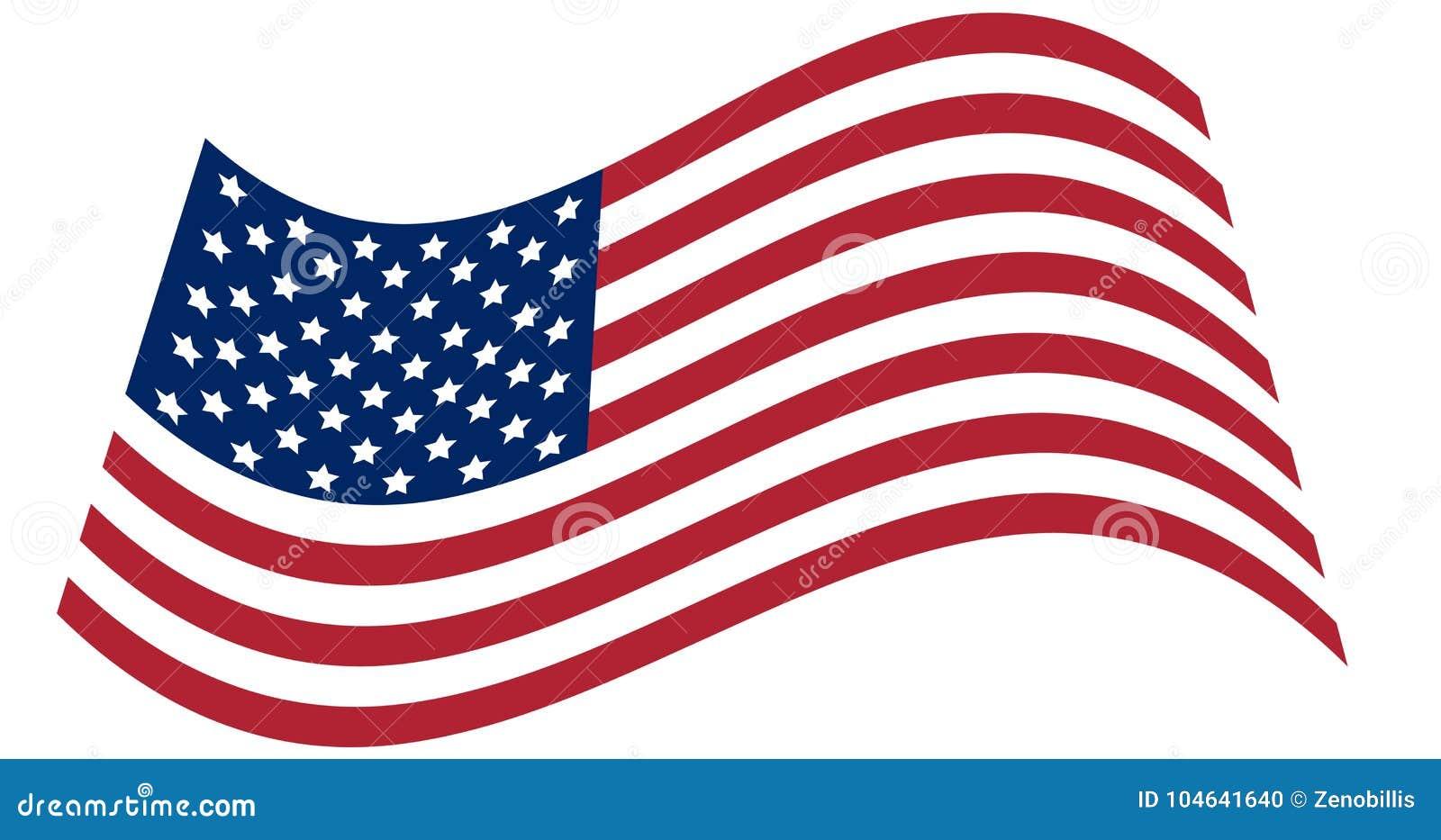 Waving National Flag Of United States Of America Isolated On White