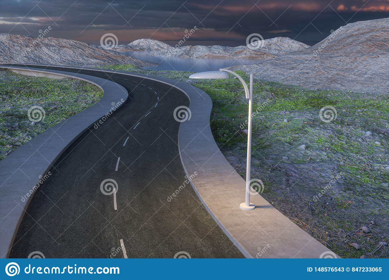 The waving road in the deserted suburbs, 3d rendering