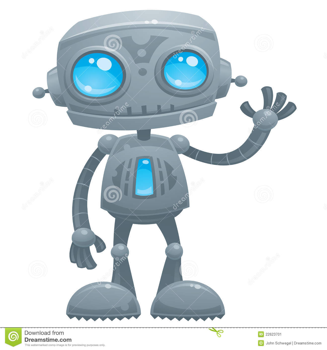 ... illustration of a cute and friendly robot with blue eyes waving hello