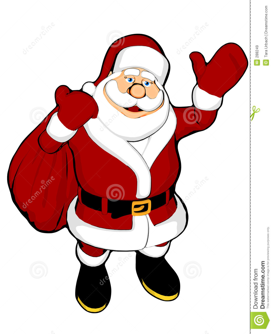 Waving santa with sack stock illustration of