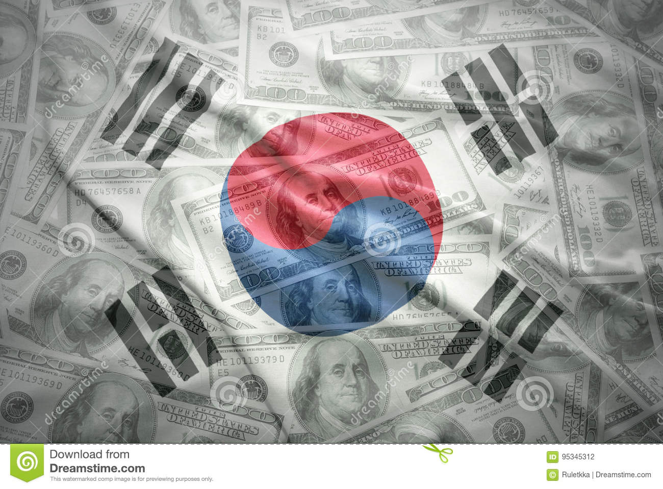 Waving south korea flag on a american dollar money background
