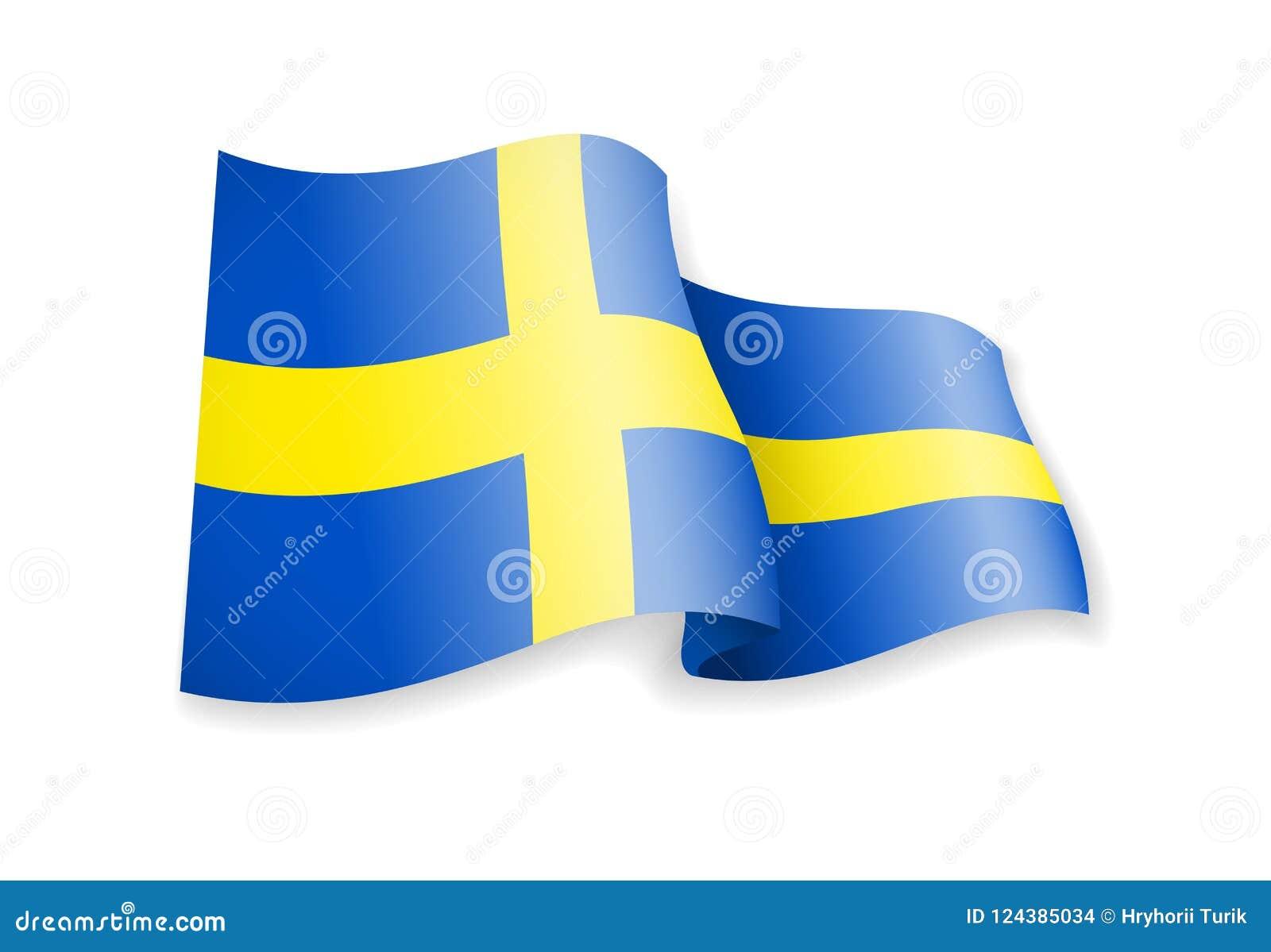 Waving Sweden flag on white background.
