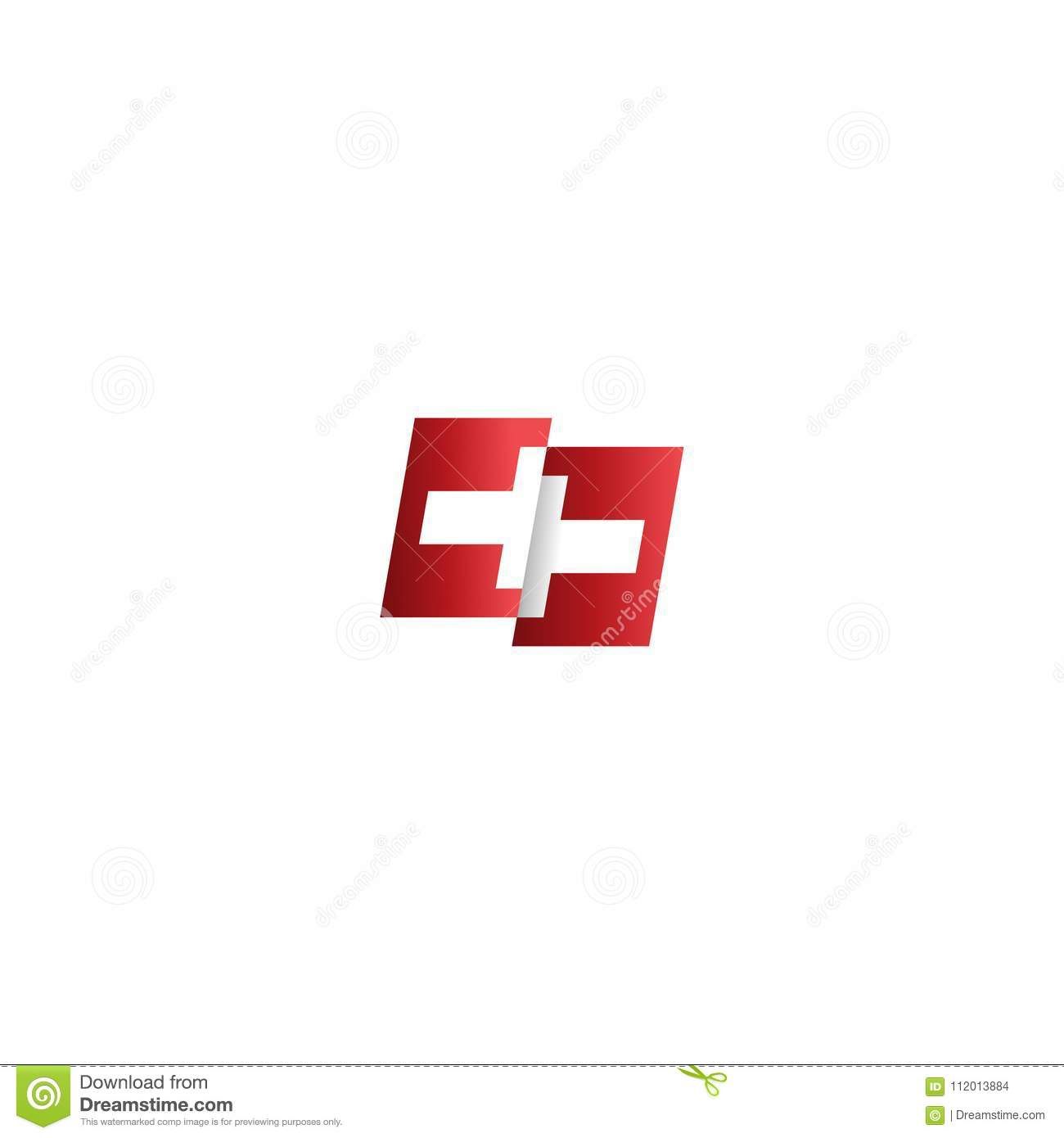 Waving Swiss Flag With White Cross Abstract Swiss Flag Ribbon