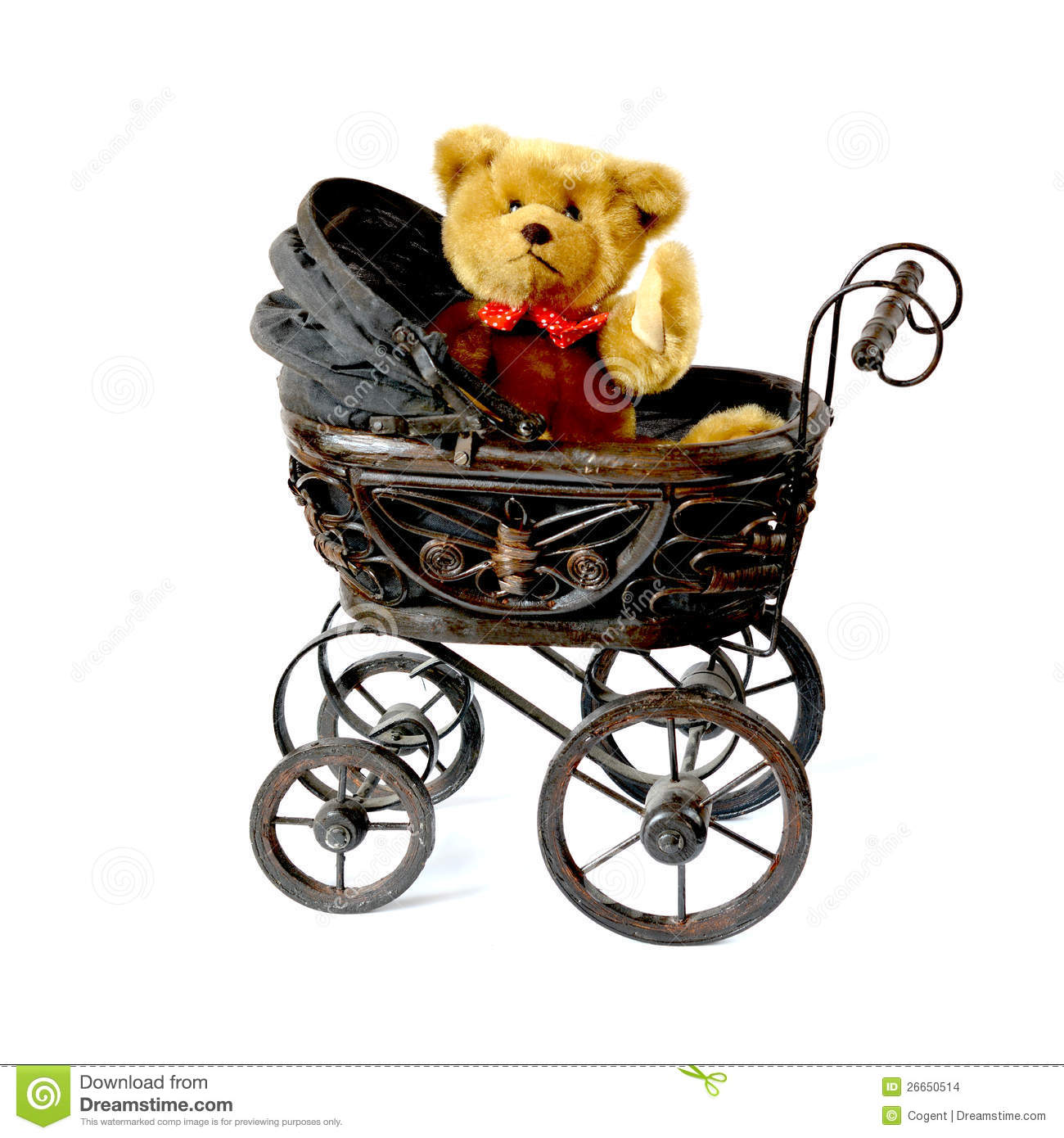 Waving Teddy Bear In Vintage Pram Stock Photo Image Of Baby Cute