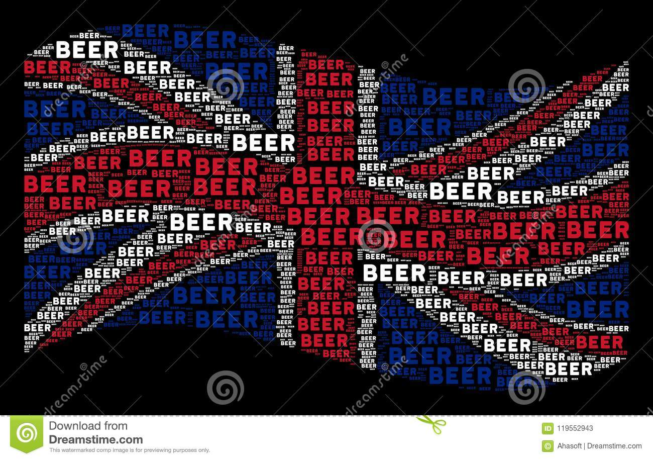 Download Waving United Kingdom Flag Mosaic Of Beer Text Items Stock Vector    Illustration Of Background