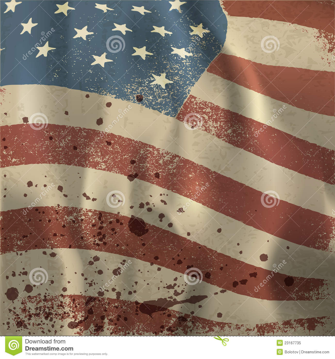 Waving Vintage American Flag Textured Background. Stock ...