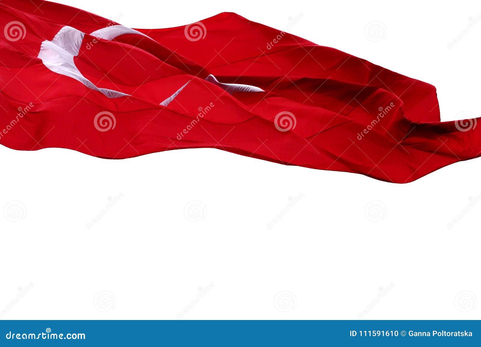 Waving on wind flag of Turkey