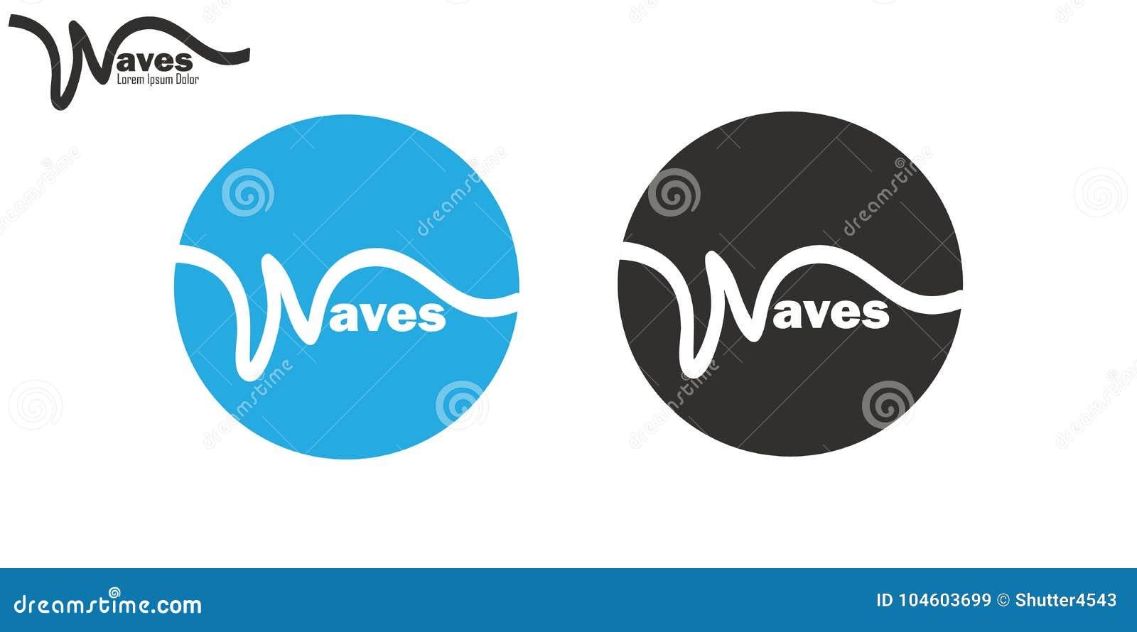 Wavy Line Waves Logo Set Brand Insignia Clean Wavy Line