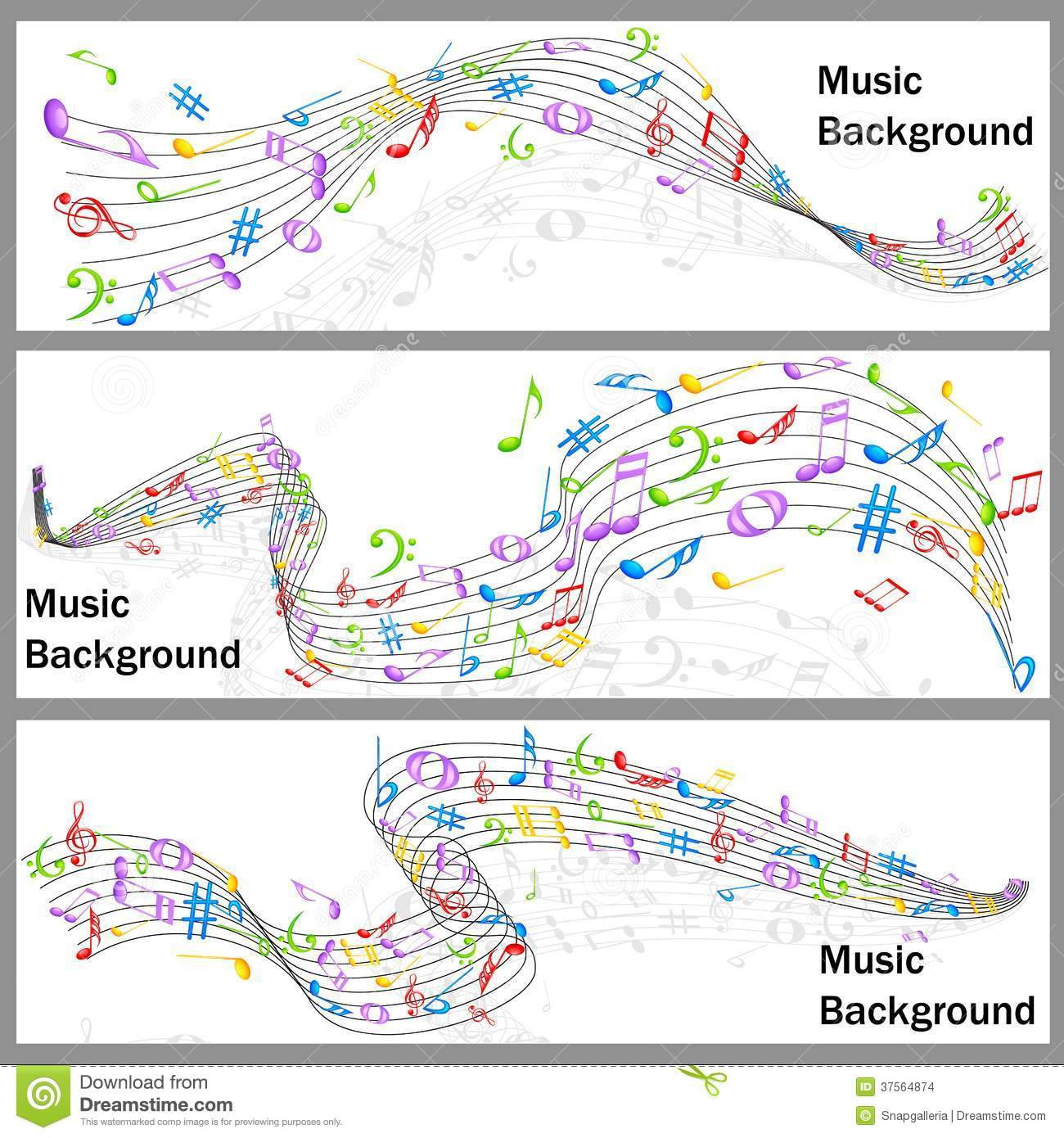 Wavy Music Notes Banner Stock Images - Image: 37564874