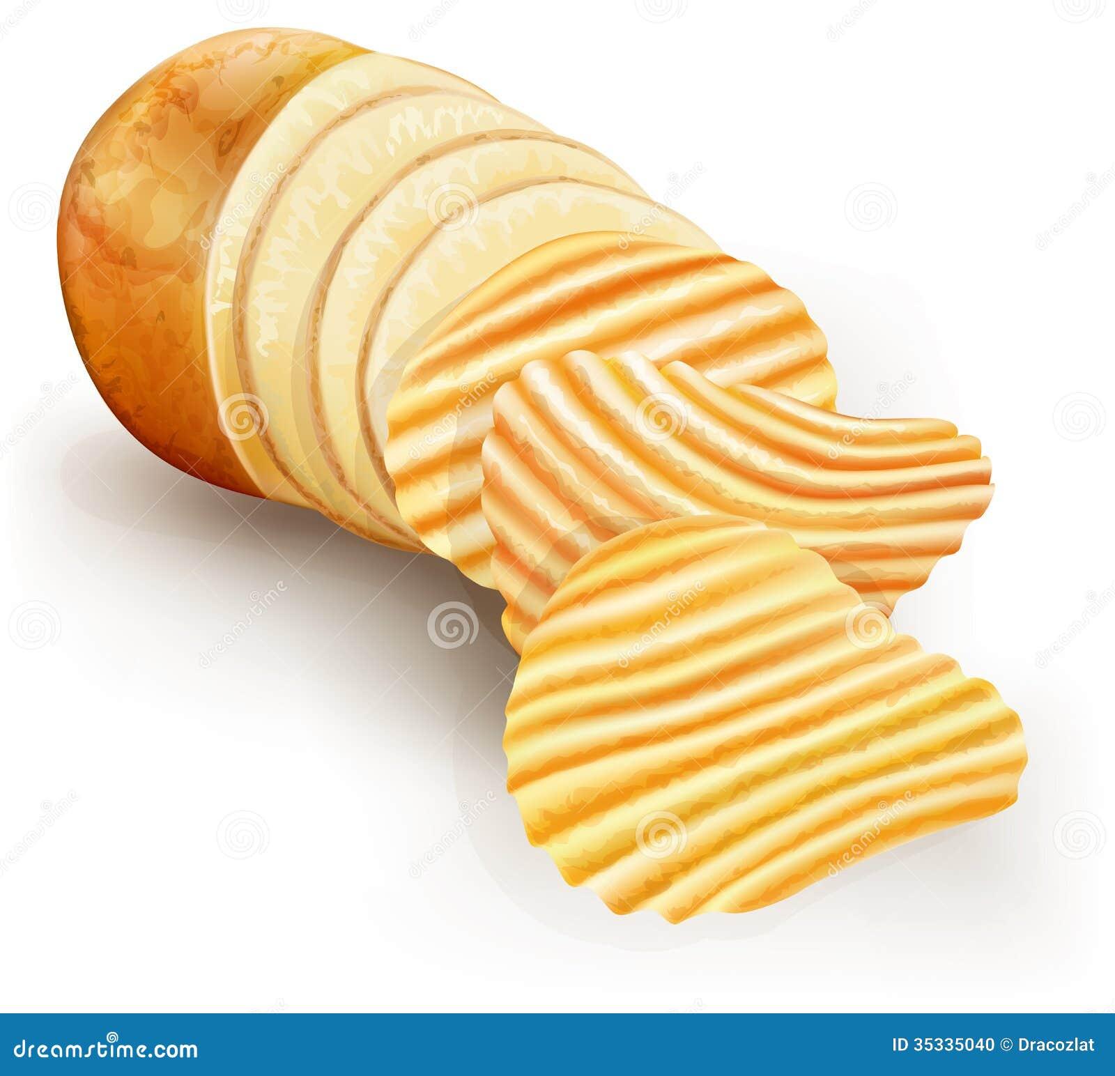 Wavy potato chips stock vector. Image of potatoes, fast ...