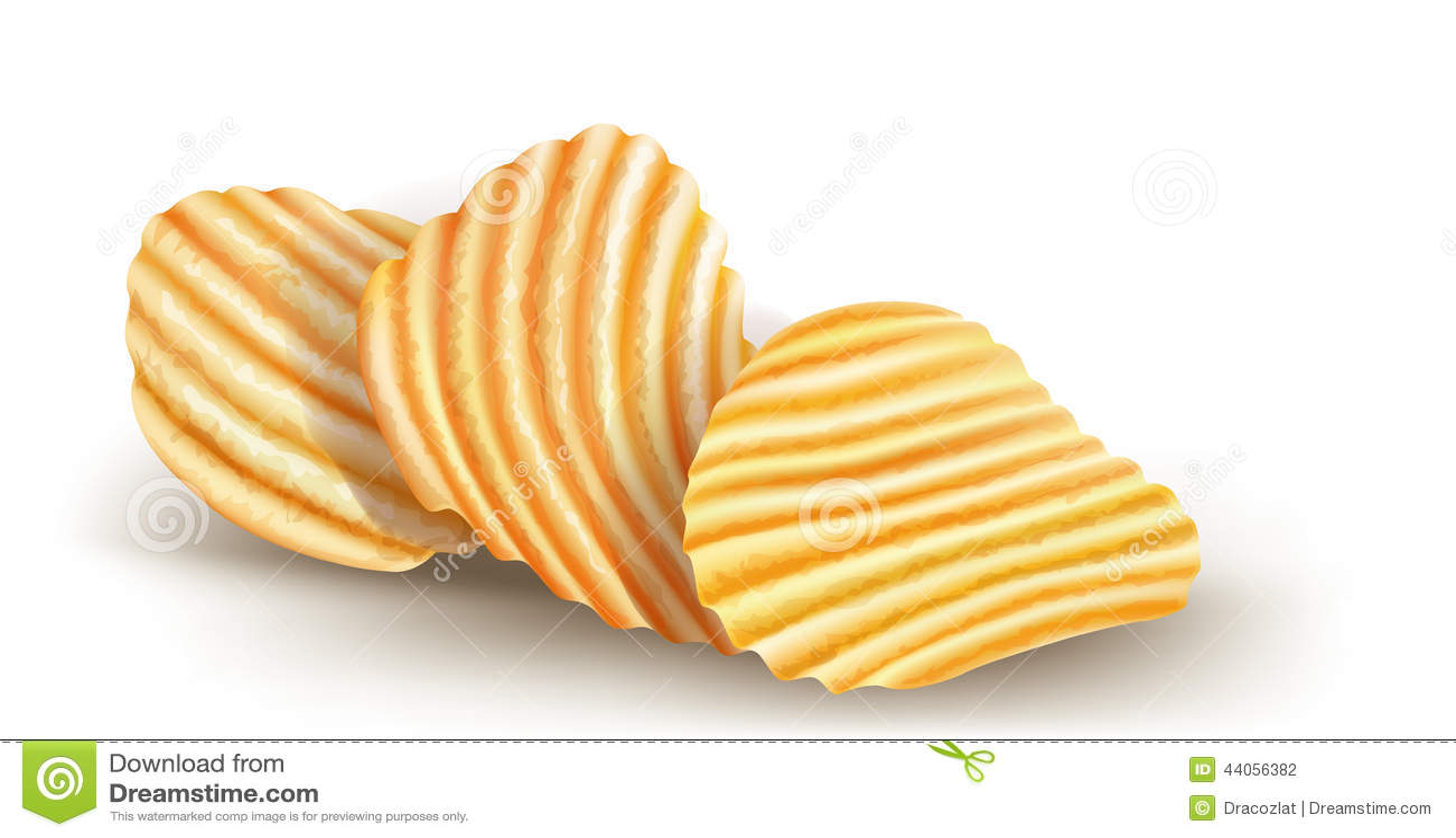 Wavy potatos chips on white background