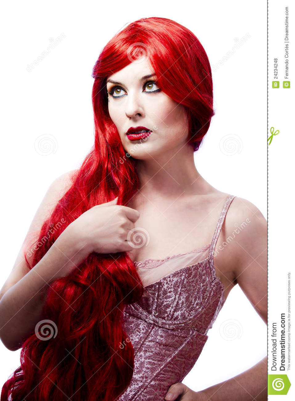 Wavy Red Hair Woman Fashion Girl Portrait Stock Photo Image 24234248