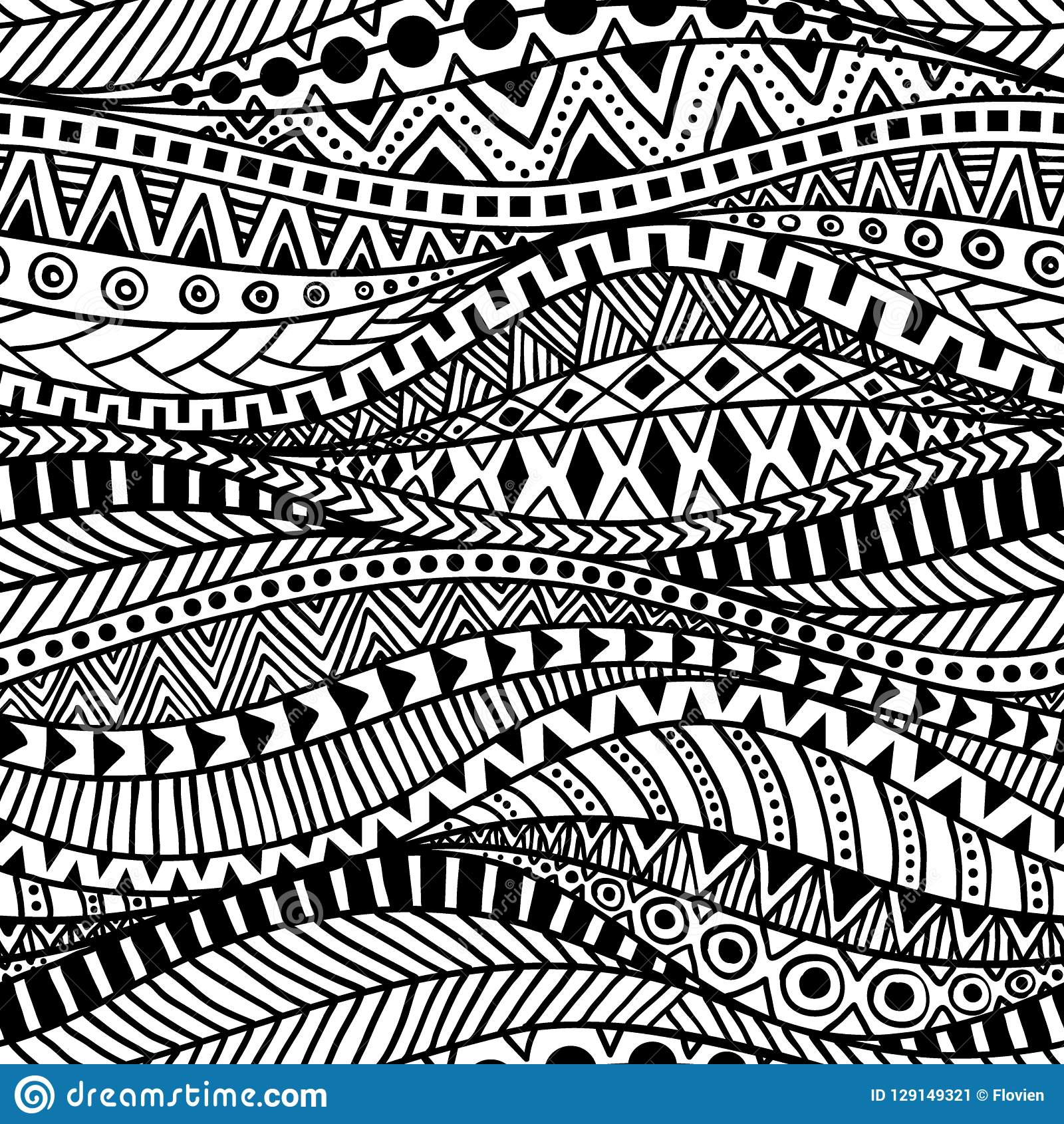 Wavy Seamless Ethnic Pattern Black And White Print For