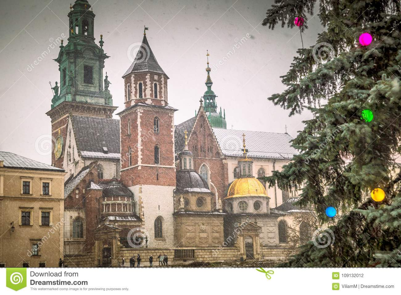The Wawel Cathedral in Krakow during Christmas.