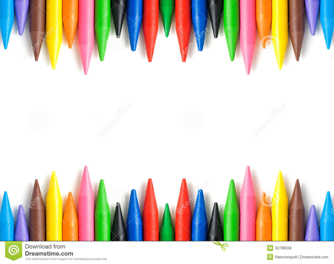 wax crayons frame stock photo  image of brown  up