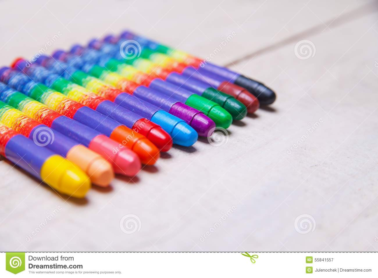 Download Wax Crayons On Wood Table Stock Image. Image Of Object   55841557