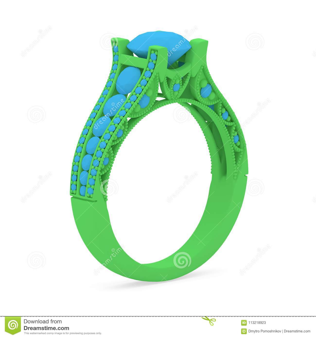 Wax 3D Print Jewelry Model Of Engagement Ring With Diamonds  3D