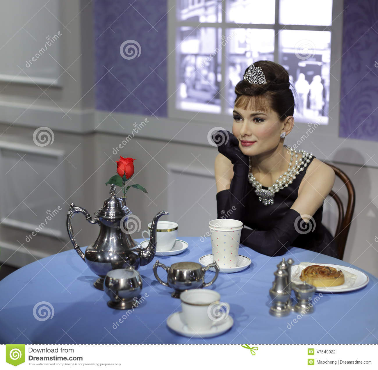 Wax figure of audrey hepburn
