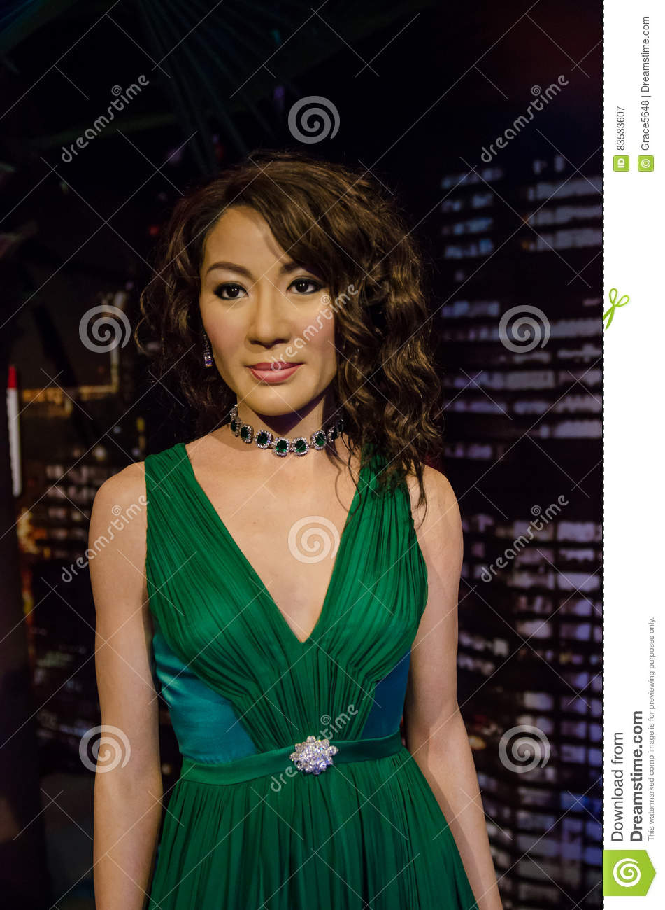 The wax figure of Michelle Yeoh in Madame Tussauds Singapore.