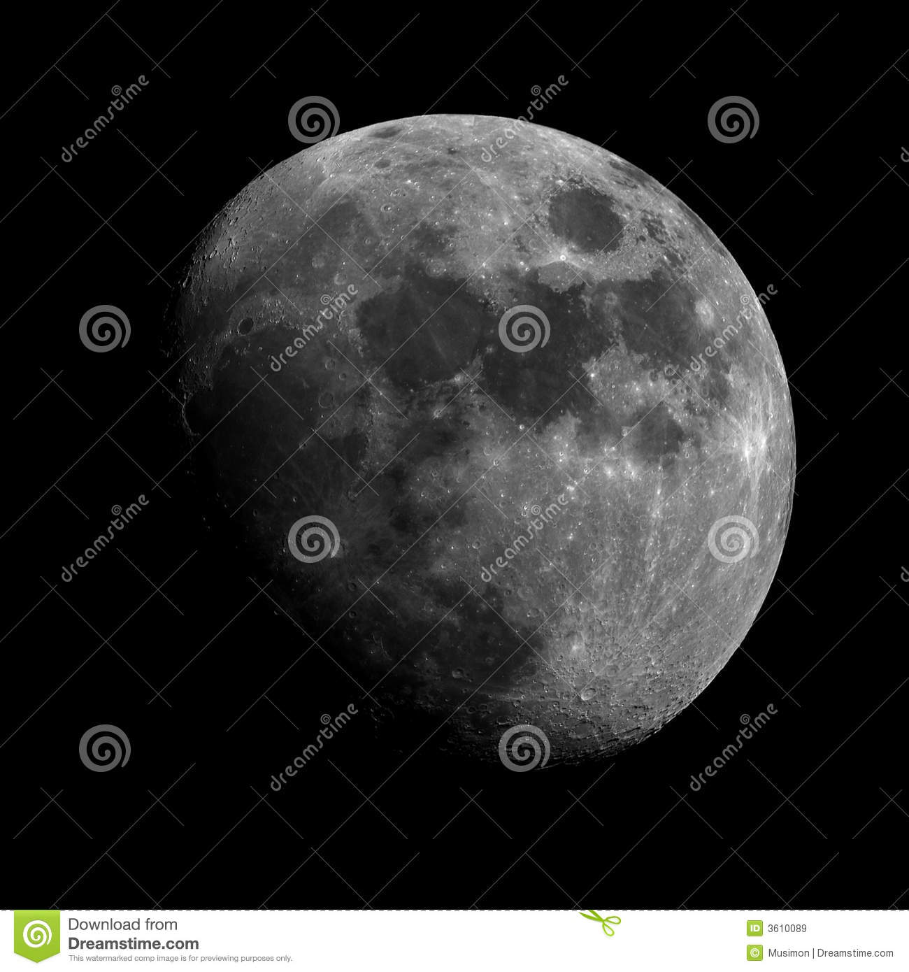 Detailed and sharp Waxing Gibbous Moon Black sky and plenty of room    Waxing Gibbous Moon Clipart