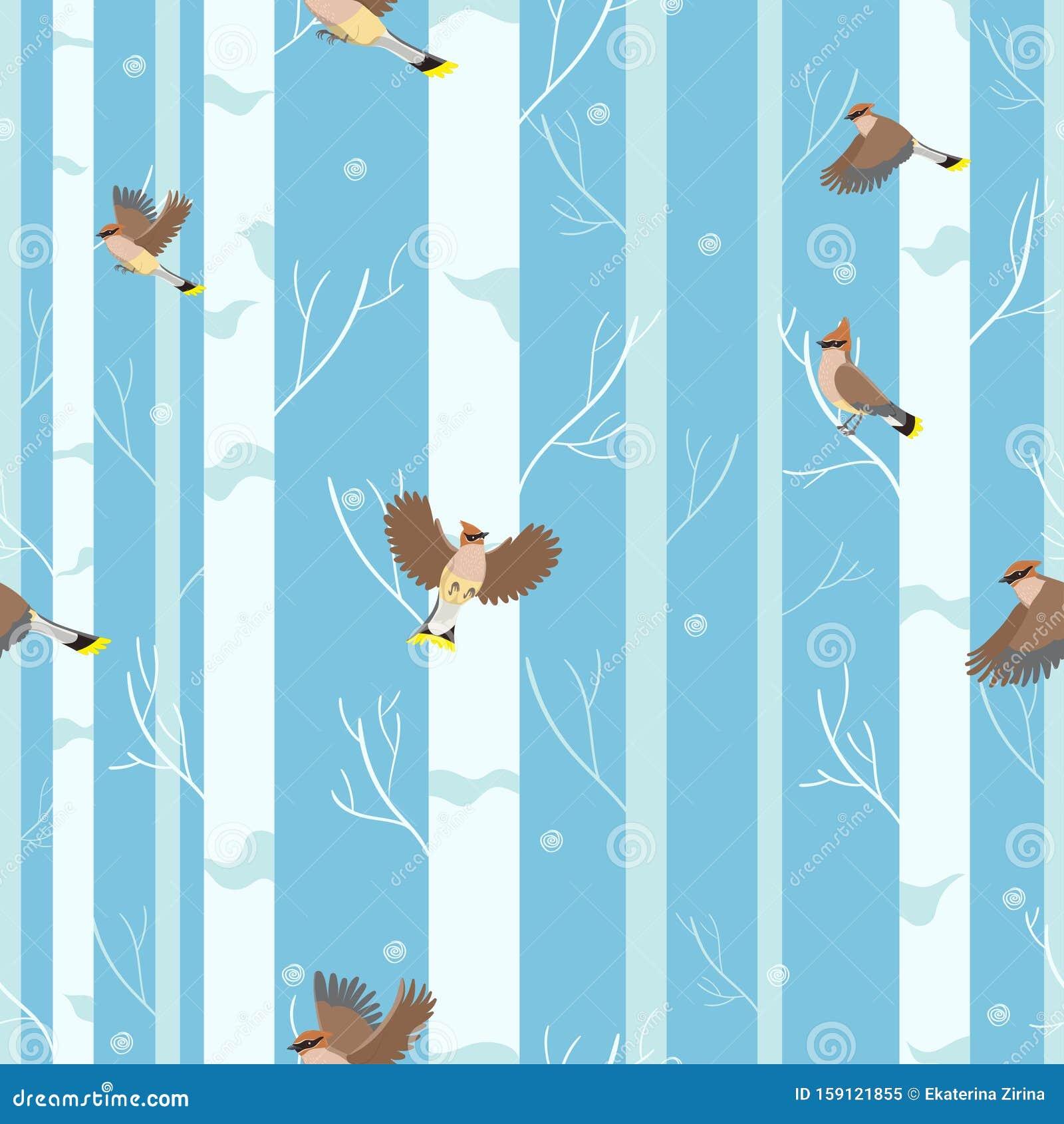 Waxwings birds seamless pattern in winter forest