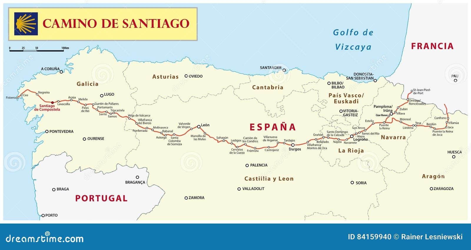 317c2ce900f4e Way of St. James map editorial image. Illustration of destination ...