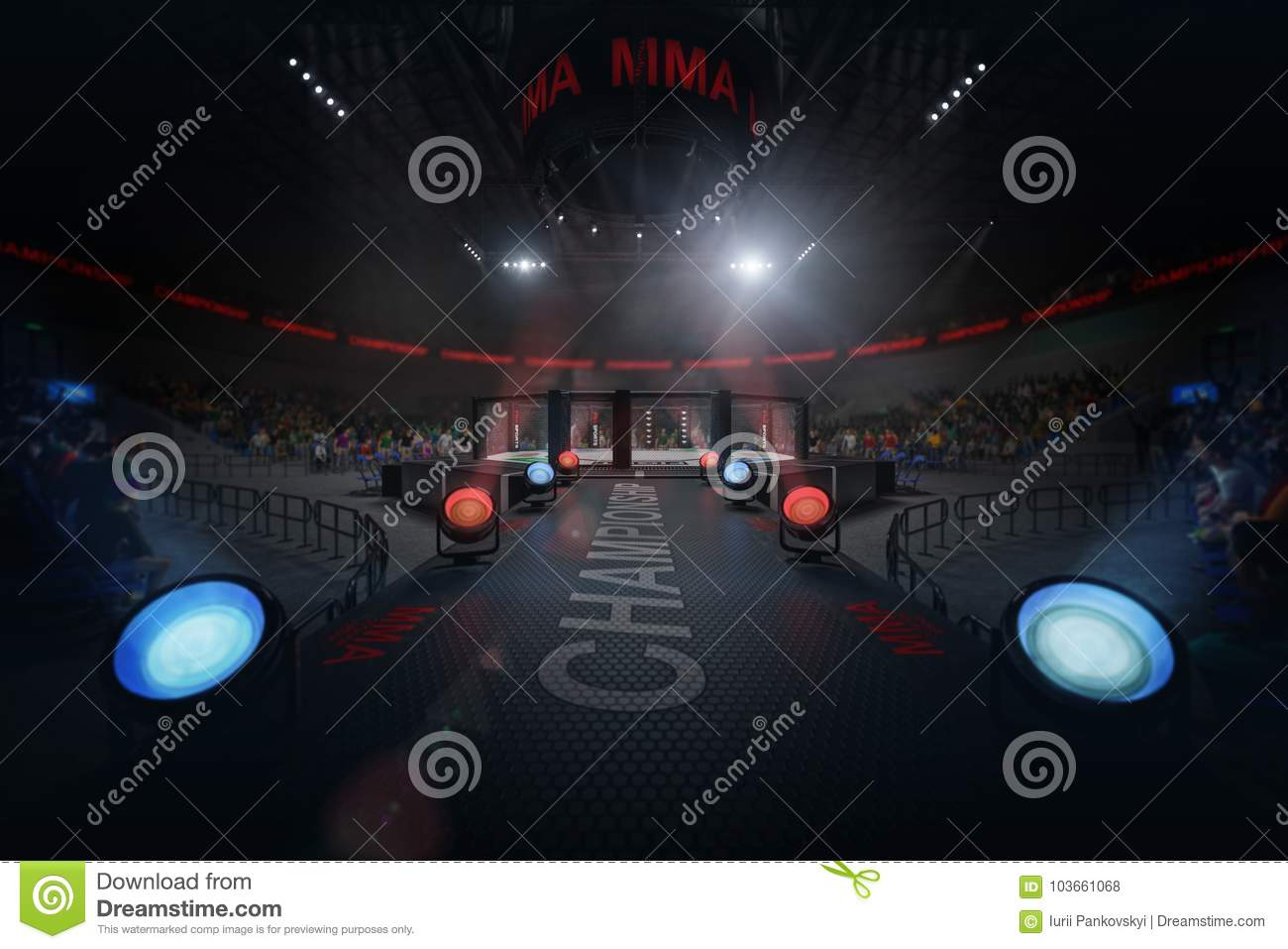 Way to mma arena on crowded stadium under lights