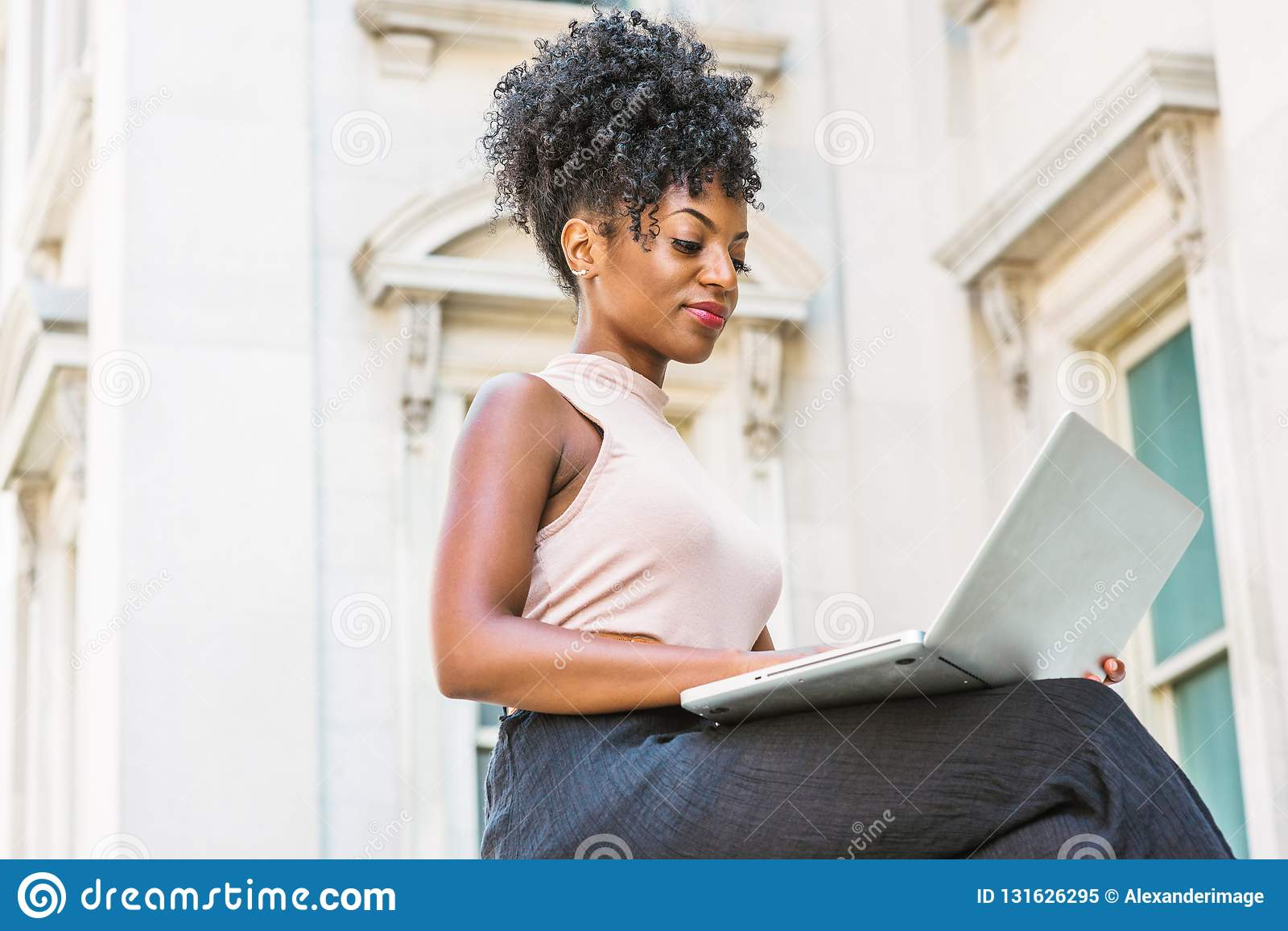 Way To Success Young African American Woman With Afro Hairstyle