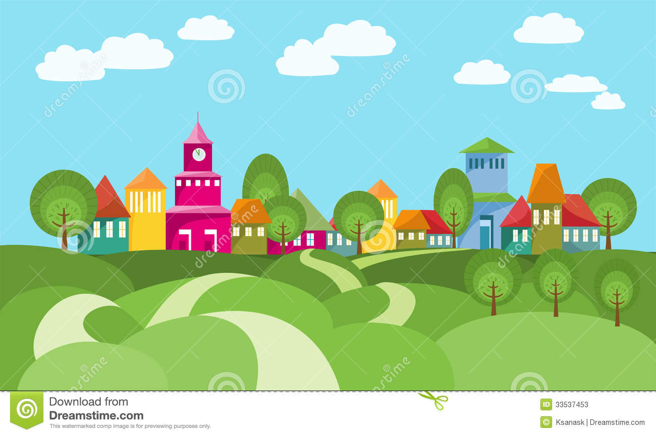 Town Landscape Vector Illustration: The Way To Village Between Rolling Hills Stock Photos