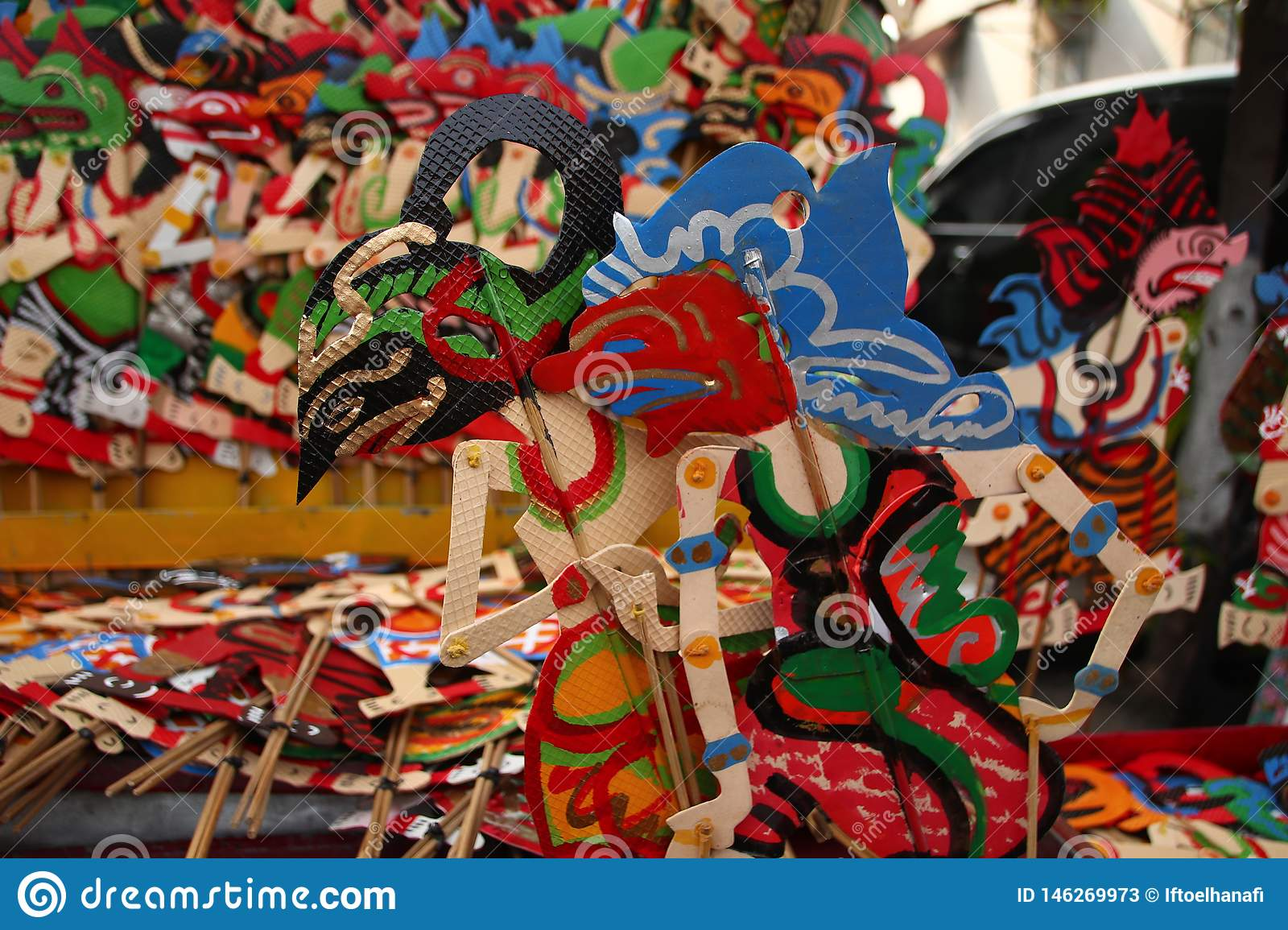 Wayang Kulit sellers on the streets, while exhibiting their selling products in Tegal / Central Java, Indonesia,