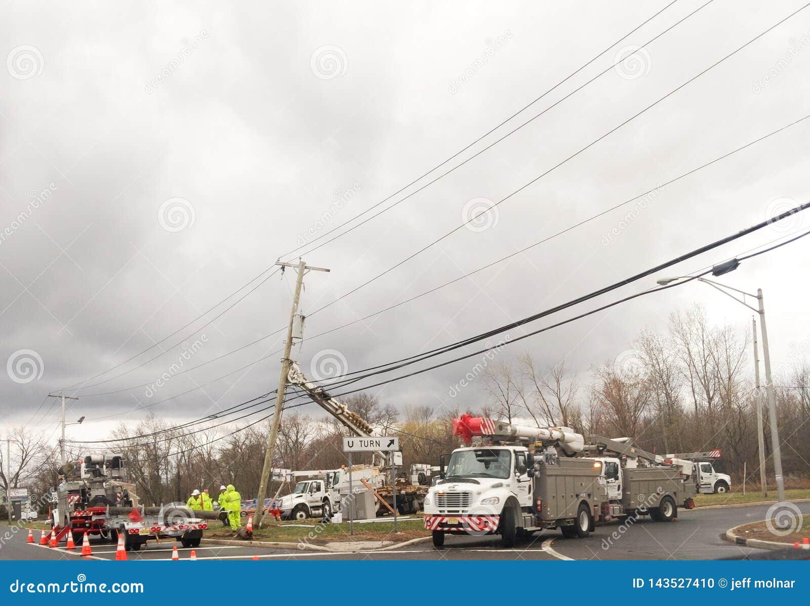 Wayne, New Jersey, U.S.A. 03/31/2019: Immagine del ackground degli impiegati dei servizi pubblici