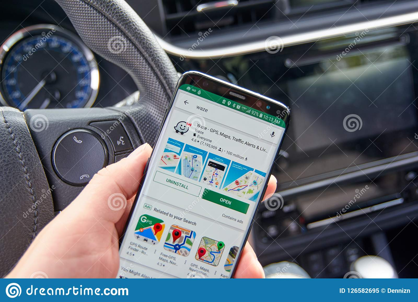 Waze Application On A Cell Phone Screen Editorial Image - Image of