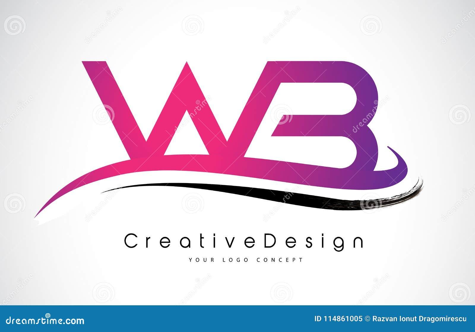 WB W B Letter Logo Design. Creative Icon Modern Letters Vector L ...