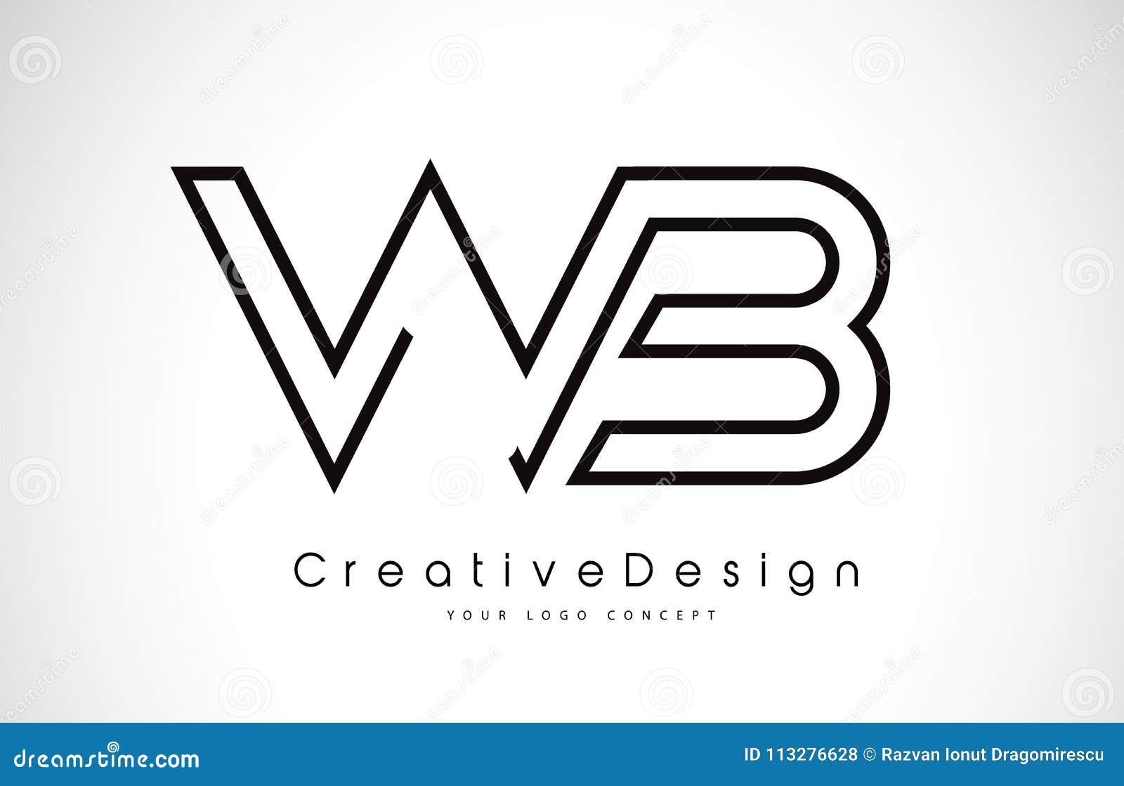 Wb W B Letter Logo Design In Black Colors Stock Illustration