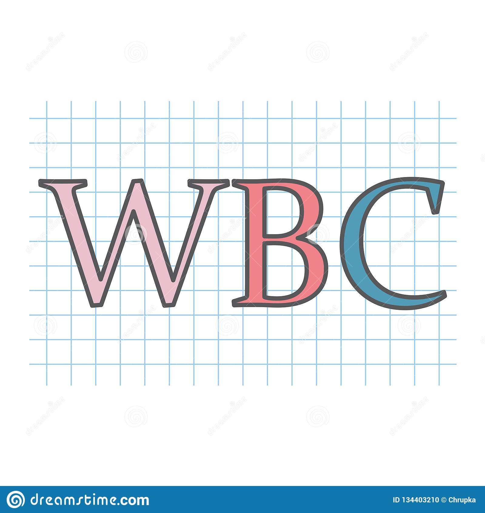 WBC White Blood Cell acronym on checkered paper sheet