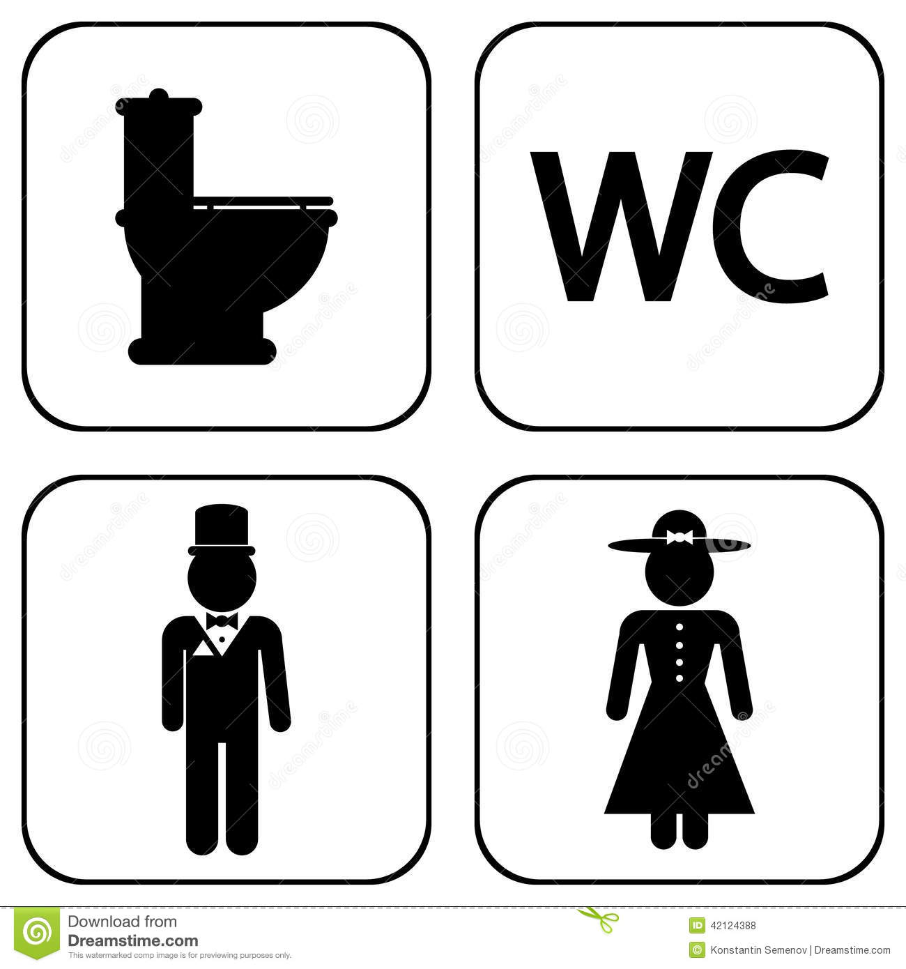 Wc Icons Stock Vector Image 42124388