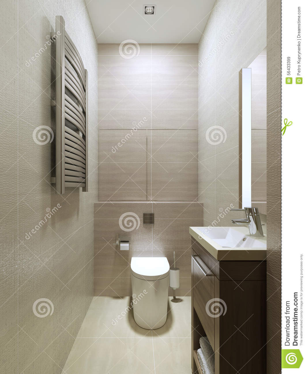 Wc modern style stock image image of interior pink for Carrelage mural toilettes