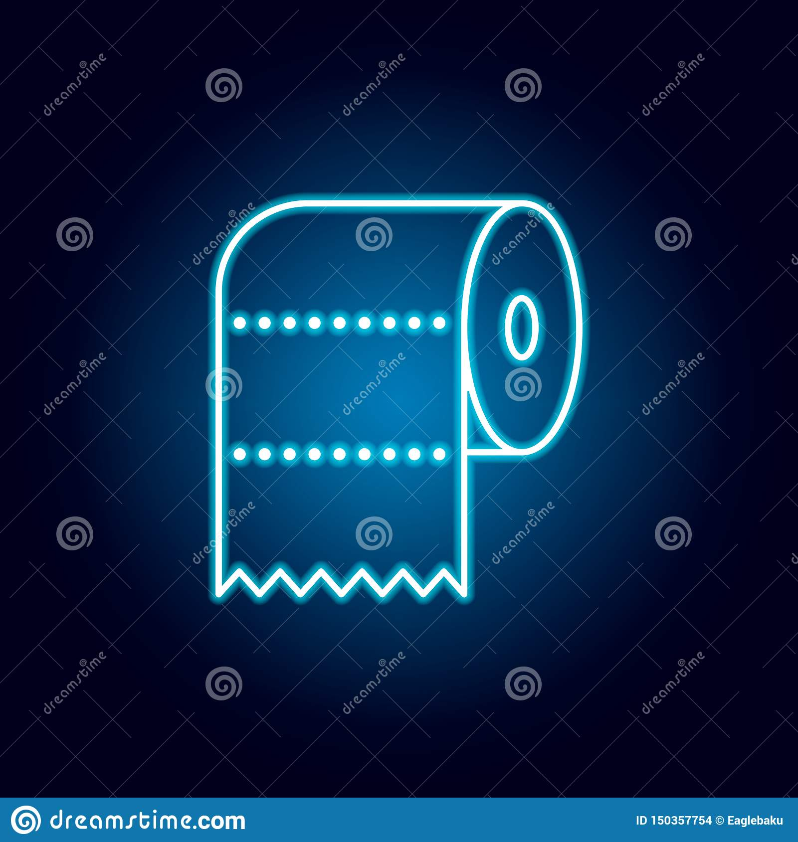 wc, paper, toilet, towel outline icon in neon style. signs and symbols can be used for web, logo, mobile app, UI, UX