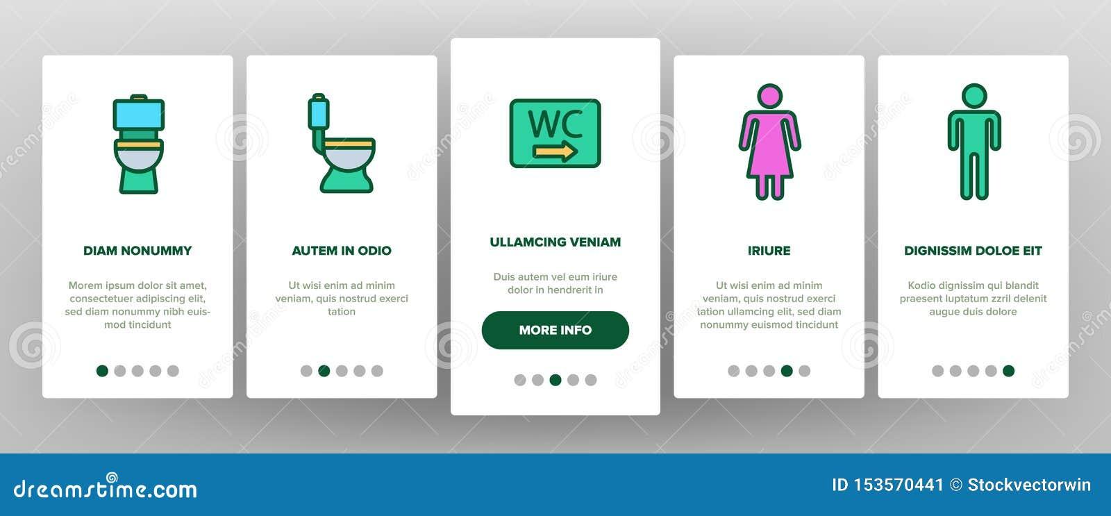 WC, Public Bathroom, Toilet Vector Onboarding Stock Vector ...