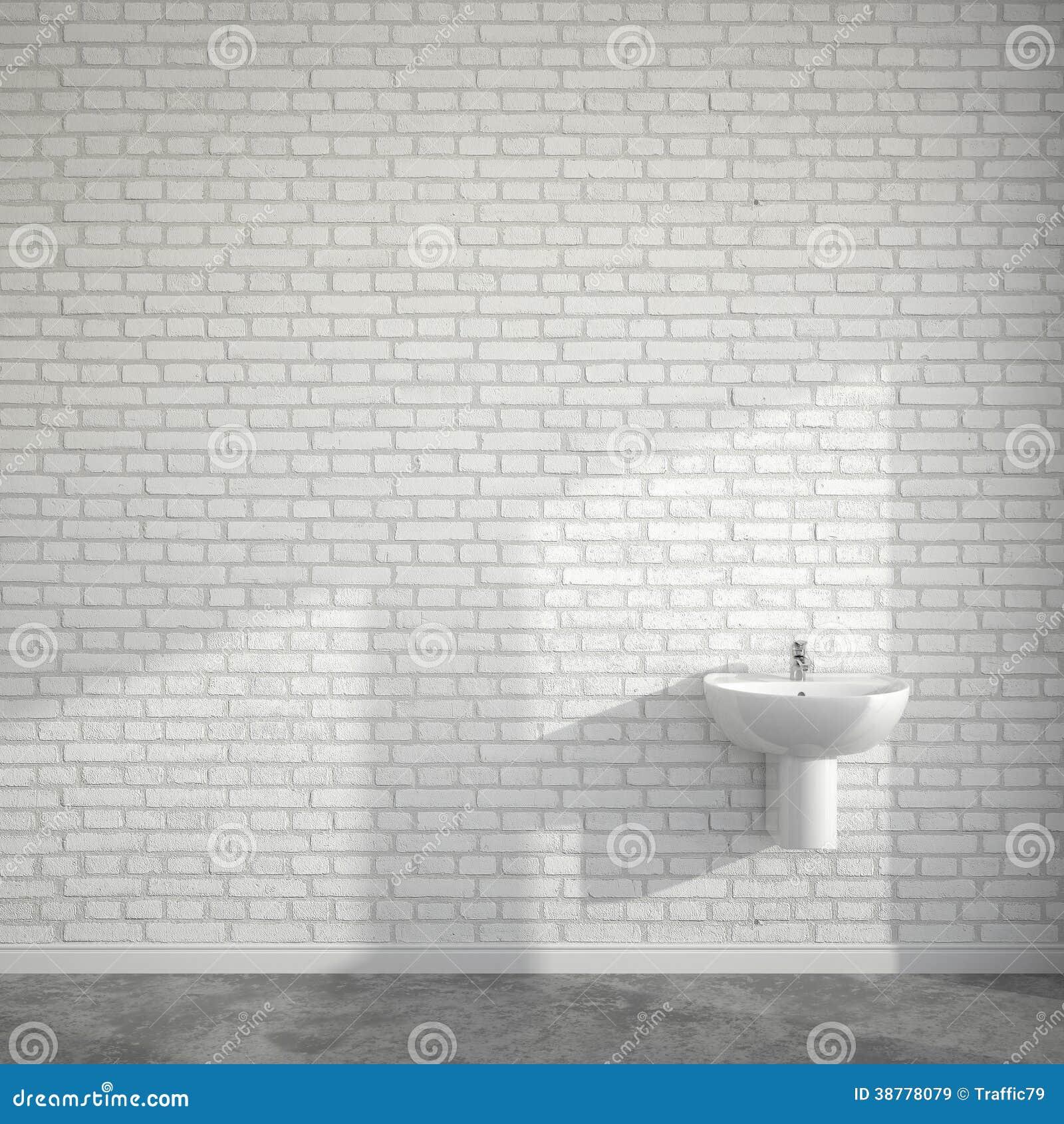 WC-ruimte met wasbassin bij lege muur van bakstenen