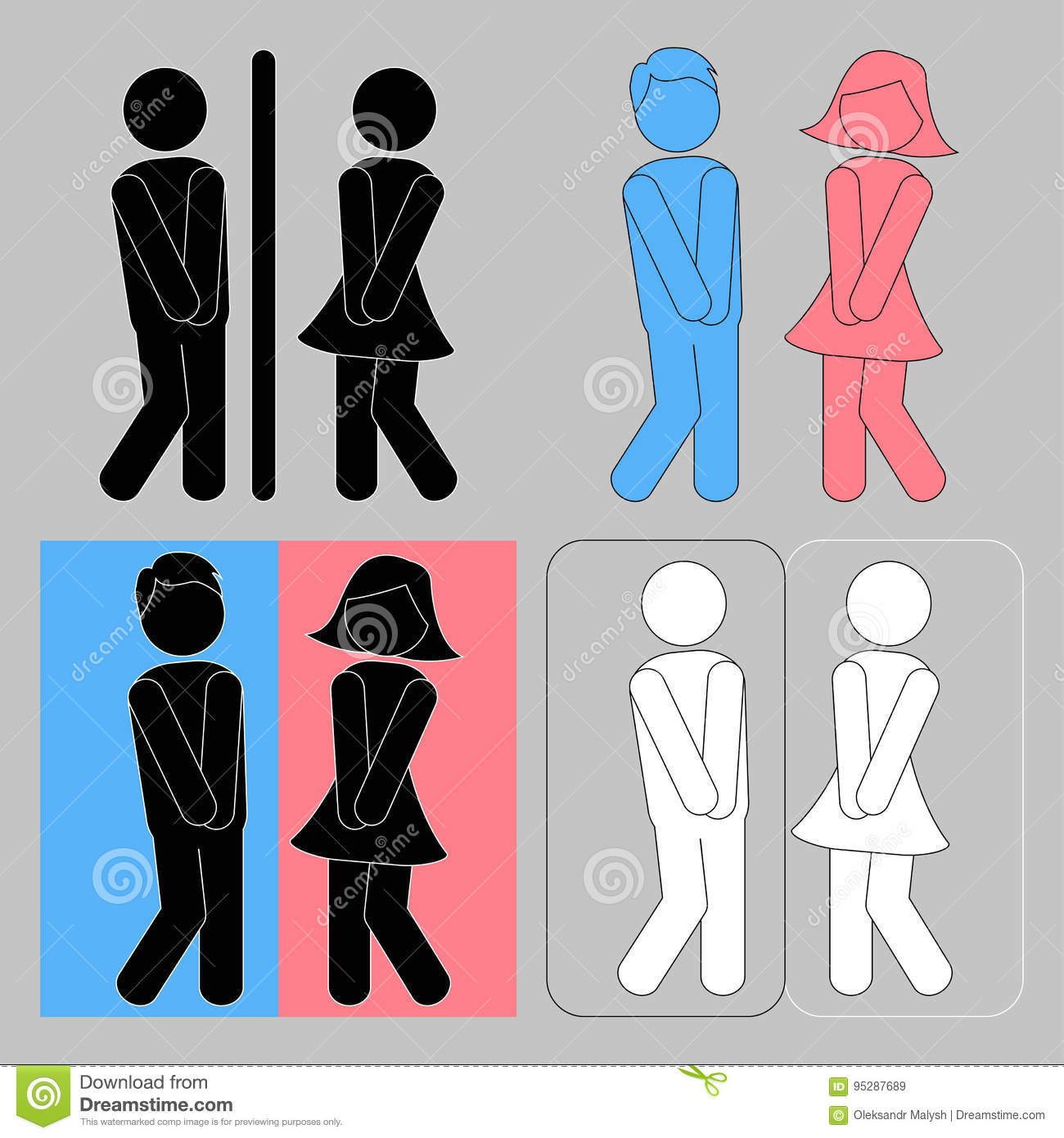 Wc Sign Boy And Girl Toilet Icons Stock Vector Illustration Of